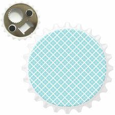 Blue & White Square Repeating Pattern Bottle Opener Fridge Magnet
