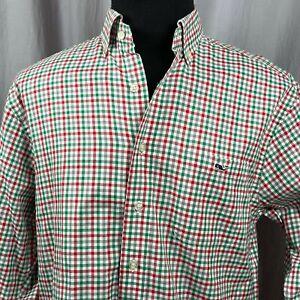 Vineyard Vines Christmas Plaid Men's Medium Button Up Shirt Classic Fit Tucker
