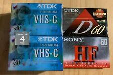 TDK 4 Pack VHS-C Premium HG 30 Blank Tapes New+ 1 TDK Hi Output/case disc+1 Sony