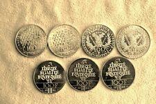 7 PIECES 100 Francs ARGENT 900/1000 - Panthéon, Liberté, Marie Curie, Fraternité