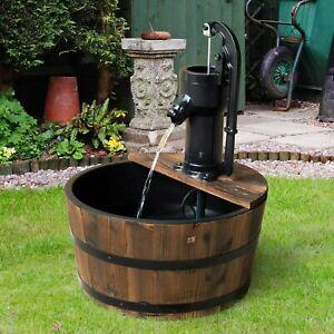 Vintage Wooden Barrel Water Fountain Electric Pump 1 Tier Garden Patio Decor