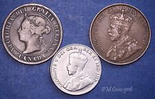 Canada 1894 & 1913 One Cents, 1923 Five Cents, Victoria & George V *[9116]
