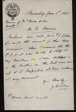 1885 BARNSLEY, JOSEPH CORKER, BOOT & SHOE MAKER, LETTER RE D. HARRIS