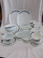 48 Pc Corelle Blue Onion Old Town Plates Bowls Mugs Butter Gravy Service for 10