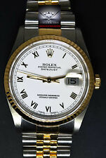 Rolex Datejust 18k Yellow Gold/Steel White Roman Dial Mens Watch Box/Card 16233
