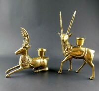 Vintage Set of 2 Solid Brass Reindeer Candle Stick Holders Christmas Holiday