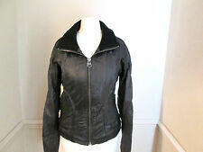 FIRETRAP Ladies black soft REAL LEATHER biker style jacket size S (8/10)