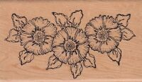 """three flowers holly berry  Wood Mounted Rubber Stamp  2 1/2 x 4""""  Free Shipping"""