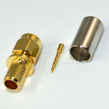 SMA male plug straight crimp RG6 RG59 LMR240 cable RF coaxial connector adapter