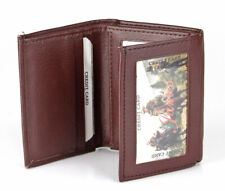New Mens Trifold Genuine Leather Wallet Classic Card Case Window ID Slots Brown