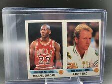 🔥 1990 Panini Stickers- Michael Jordan/Larry Bird Dual Panel- Hand Cut 🔥 HOT