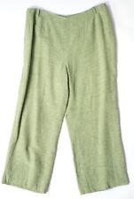 """Alex & Co Green Linen Wide Leg Trousers Size 16 Lined 27"""" Inside Leg"""