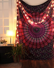 Pink Tapestry Twin Indian Mandala Hippie Wall Hanging bohemian Peacock Throw