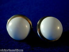 Vintage Lt.Blue Bakelite/Plastic & Silvertone Screw-Back Earrings-Estate Jewelry