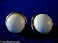 Vintage Lt.Blue Bakelite/Plastic & Silvertone Screw-Back Earrings-Estate Jewelry