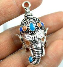 Retro Style Tibetan Silver Elephant God of Wealth Pendant & necklace N4