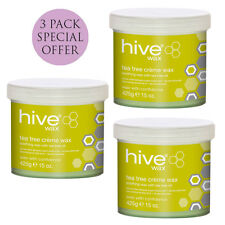 Hive Tea Tree Creme 3 for 2 Depilatory Waxing Salon Wax Pot Hair Remover 425g X3
