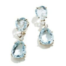 Fashion Aquamarine Zircon Silver Women Jewelry Gemstone Dangle Earrings FH8674