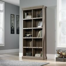 Barrister Tall Bookcase 5 Tier With Cubbyhole Storage in Classic Dark Oak Effect