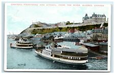 Postcard Chateau Frontenac & Citadel from the River, Quebec, Canada ship F39