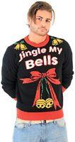 American Stitch Mens Christmas Jumper Small Jingle My Bells Black Ugly Sweater
