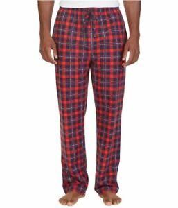 Nautica Mens Plaid Sueded Fleece Pajama Lounge Pants, Ablaze, Size S