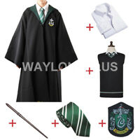 Slytherin Malfoy Robe Cloak Full Wizard Costume With Accessory Halloween Party
