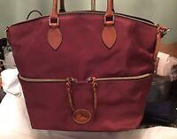 EUC Dooney Bourke Nylon Vachetta Leather Front Pocket Satchel Tote Cranberry Red