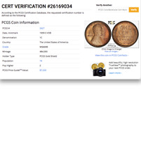 1909-S VDB PCGS MS66 RB ☗ $7,250 PCGS Price Guide ☗ Lincoln Cent 1C