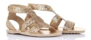 Pedro Garcia ZANNA Gold Glitter Leather Gladiator Sandals Shoes SZ 38 Us 7