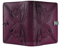 "BUTTERFLY Oberon Design Leather Journal 5""x7"" Small in Orchid art nouveau JSM46"