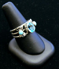 Running Bear Southwestern Jewelry Sterling Ring w/ Turquoise & Blue Topaz A9554