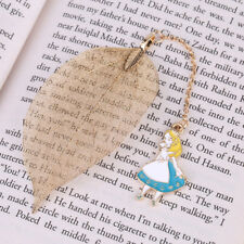 Creative Gold Metal Leaf Bookmark with Alice Pendant for Book Paper Reading