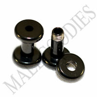 1460 Screw-on / fit Black 8G Gauge 3.2mm Flesh Tunnels Ear Plugs Earlets Steel