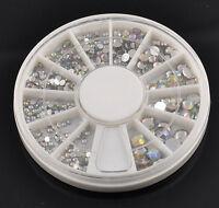 5 Size 800 pcs Wheel 3D Nail Art Tips Crystal Glitter Rhinestone Decoration LS87