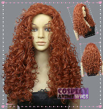 Merida Disney Princess Copper Red Halloween Curly Cosplay Wigs T77