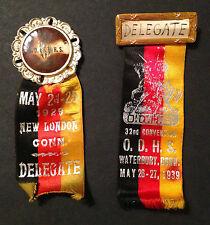 (2) Rare Original Whitehead Hoag German - Order of Hermann Sons - O.D.H.S Pins!