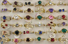 Mixed lots 30pcs Strass Multicolore Gros Cz Plaqué Or merveilleux Lady's Rings