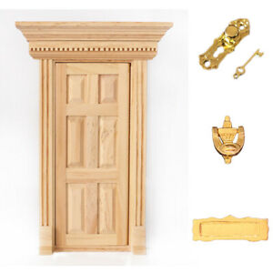 Natural Outward Open 6-Panel Wood Front Door w Hardware Doll House Miniature