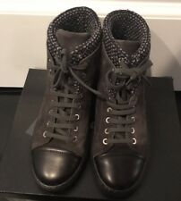 CHANEL BLACK/GREY TWEED SNEAKER BOOTIES SIZE 39 1/2 MINT CONDTION