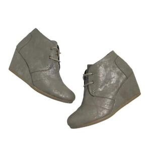 Toms Gunmetal Desert Wedge Lace Up Booties Size 6.5