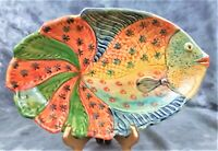 VTG COLLECTIBLE CERAMIC COLORFUL FISH PLATTER HAND PAINTED MADE IN ITALY