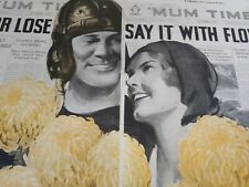 "1930 Ad ""Win Or Lose, Say It With Flowers"" Mums Football Joan Crawford 20 x 13.5"