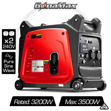 NEW GenaMax 3.5kVA KW Max Pure Sine Inverter Generator Portable Petrol Camping