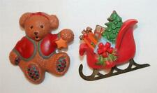 Set 2 Cute Hallmark Sculpted Christmas Sleigh Sled Teddy Bear Brooch Pins ++++