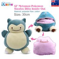 NEW 12'' Metamon Pokemon Snorlax Ditto Inside-Out Cushion Plush Bag Purse Figure