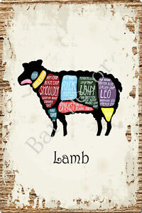 Retro Tin Metal Signs Lamb Cuts Vintage Store Poster Art Wall Decor  Hanging