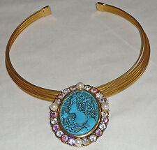 CHOKER embellished with Faux cameo blue pin / pendant. Pearl and crystal accents