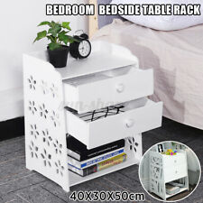 Home Bedroom Nightstand Bedside Table Rack Cabinet 2 Drawers Organizer