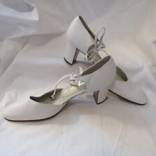 New Vintage Saks Fifth Avenue White Leather Heels W/Silver Detail Size 6 Narrow
